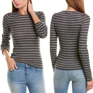Vince 100% Wool Striped Long Sleeve Ribbed Top